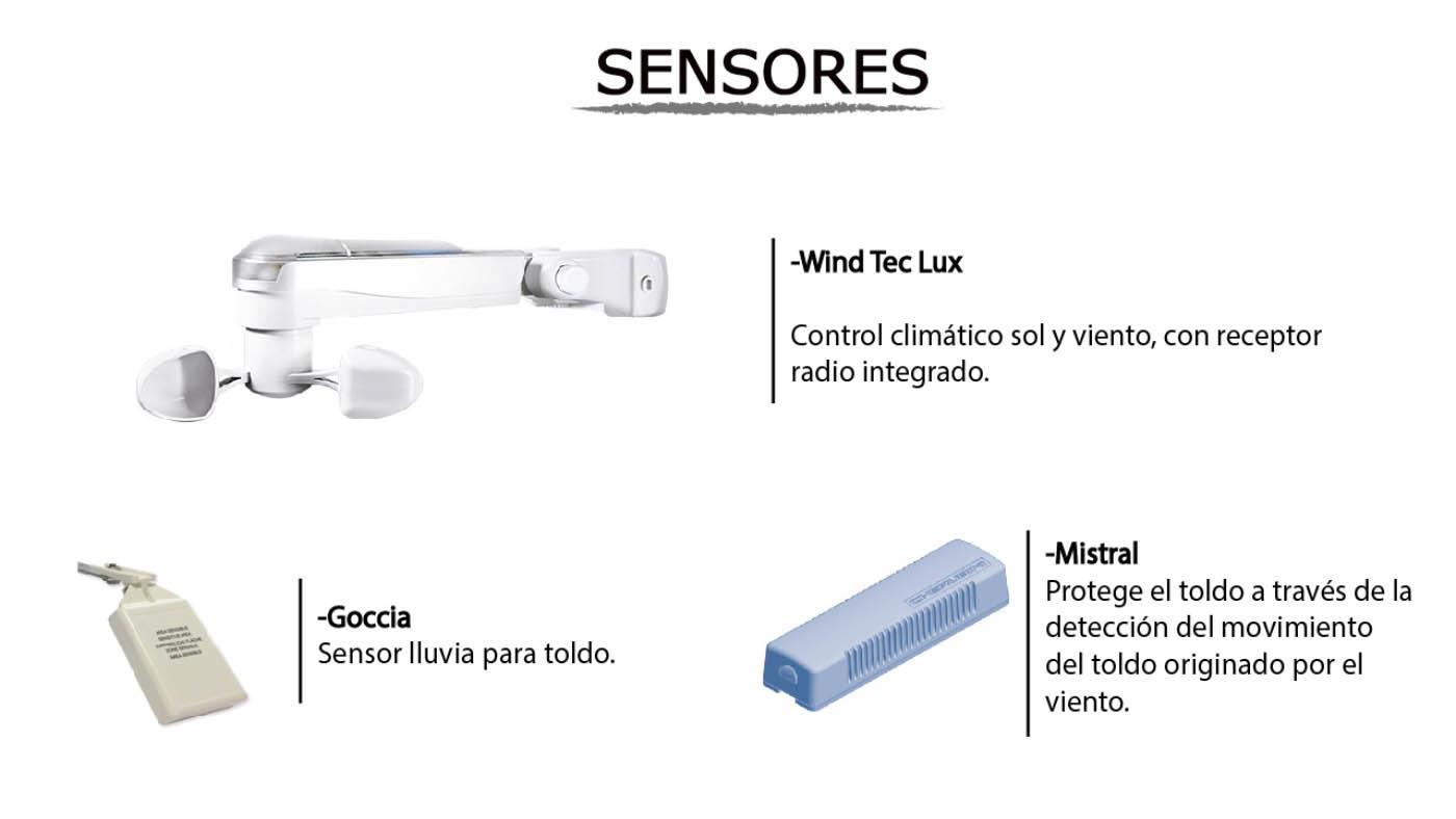 Sensores cherubini para toldos con motor para accionamiento automatico
