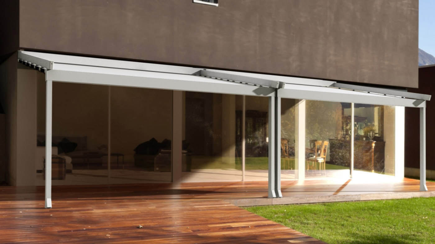 Pergola de estructura de aluminio y cubierta retráctil de lona PVC impermeable instalación en porche