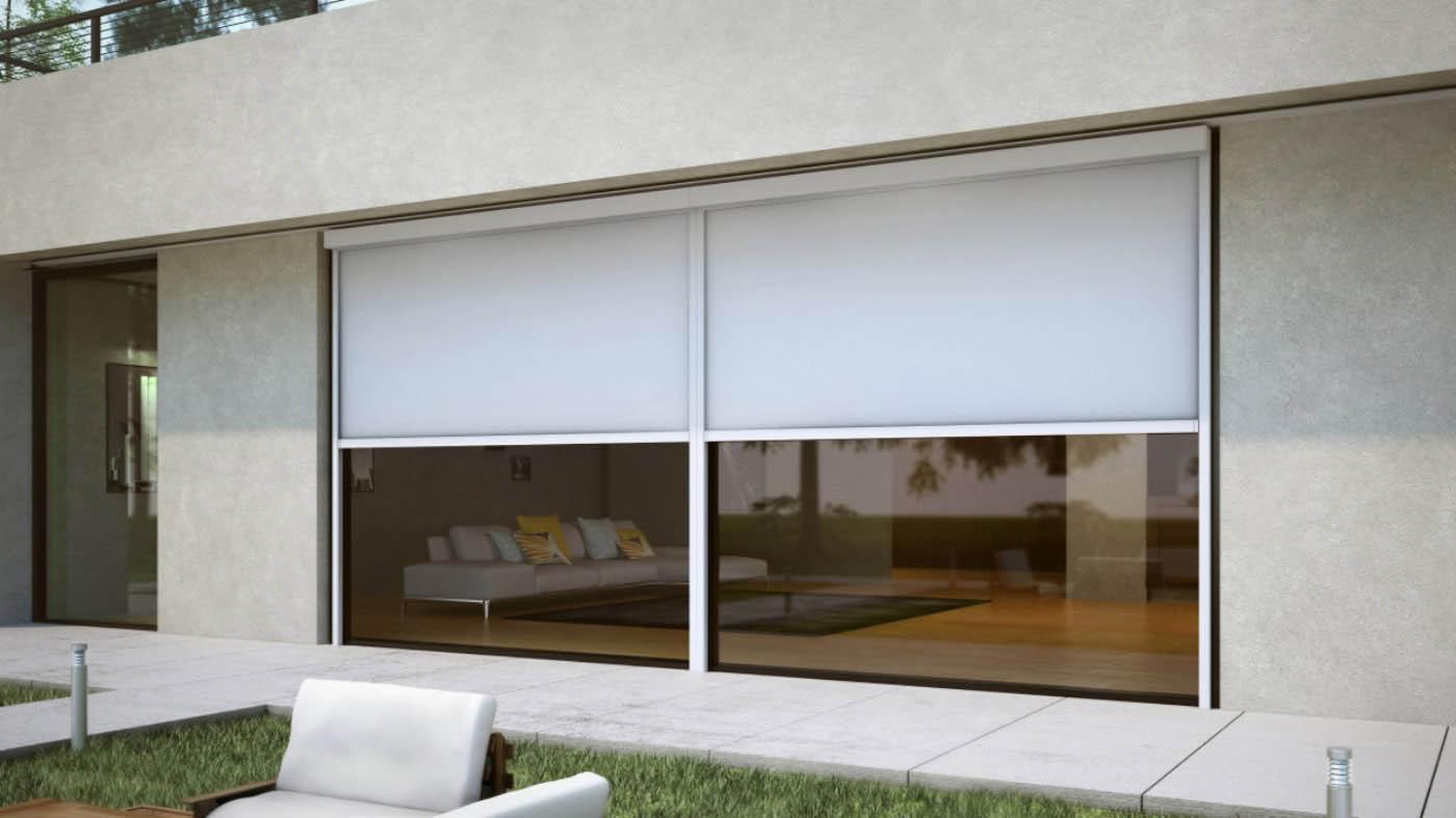 toldo cofre vertical front tensionado lacado en color blanco