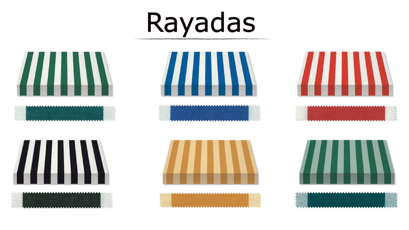 Lona acrílica con colores a rayadas teñida en masa