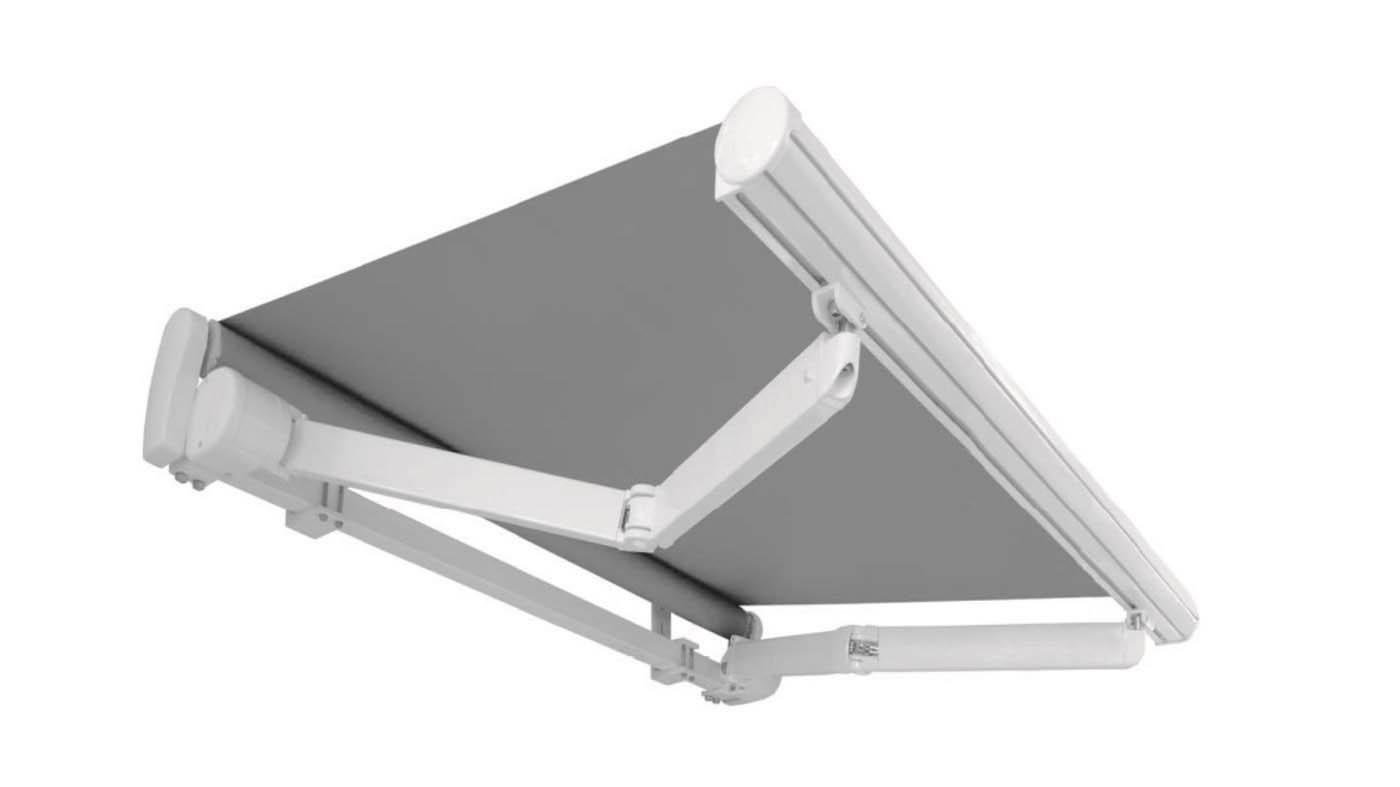 Toldo de brazos extensibles sistema monobloc 485 montado sobre barra 50x50 de hierro